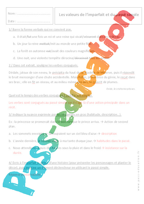 Les Valeurs De L'imparfait : valeurs, l'imparfait, Valeurs, L'imparfait, Passé, Simple, 6ème, Révisions