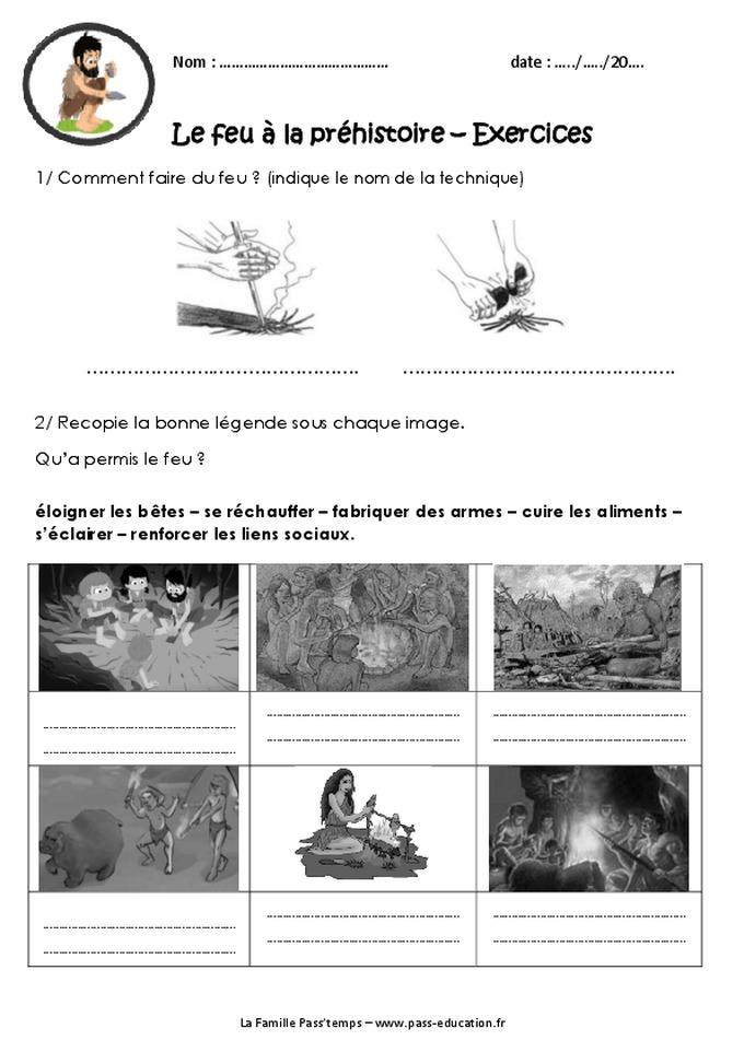 Le feu  la prhistoire  Ce2  Cm1  Exercices  Palolithique  Pass Education