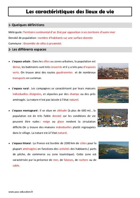 Géographie Cm1 Découvrir Les Lieux Où J'habite : géographie, découvrir, lieux, j'habite, Caractéristiques, Lieux, Leçon