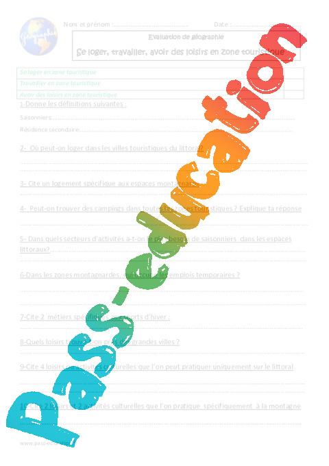Se Loger Travailler Avoir Des Loisirs En Zone Touristique Cm1 Evaluation : loger, travailler, avoir, loisirs, touristique, evaluation, Loger,, Travailler,, Avoir, Loisirs, Touristique, Evaluation