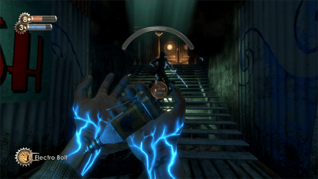 In Bioshock, the player can only see directly in front of them, which makes for a more intense experience