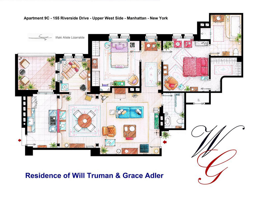 Artist Sketches the Floor Plans of Popular TV Homes  Design  Galleries  Paste