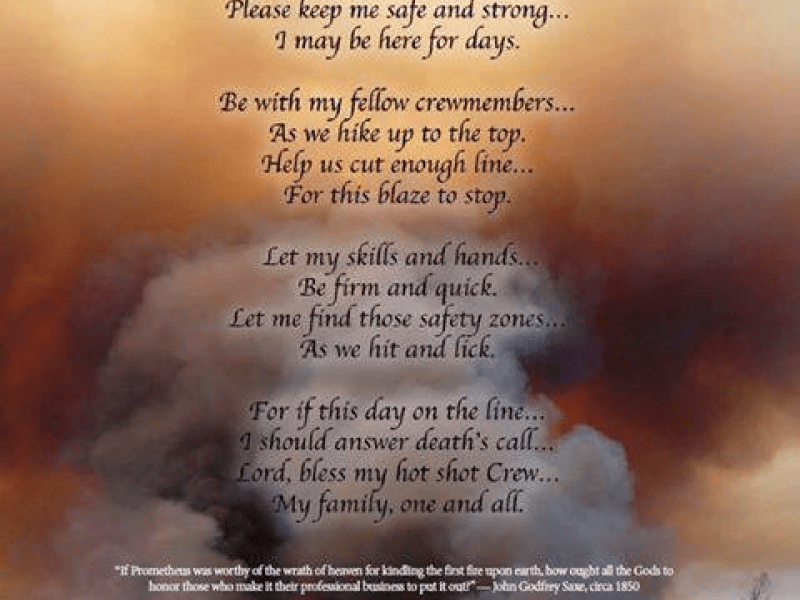 Ramonans Hotshot Prayer Read at Prescotts Firefighter