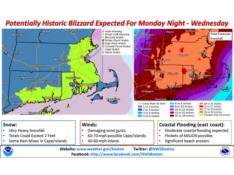 'Potentially Historic Blizzard' is Headed Toward Massachusetts