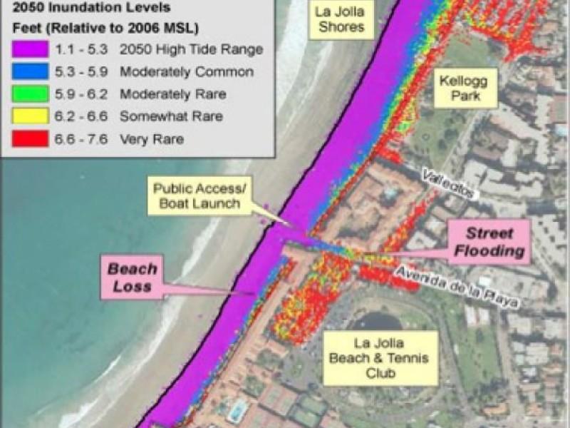 Maps of San Diego Coast Show Sea Level Rise by 2050  La