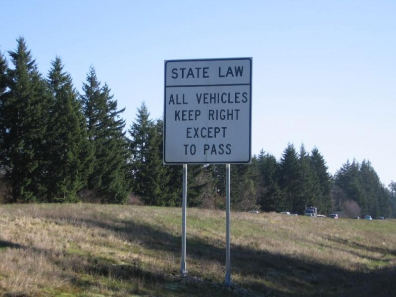 State Law: All Vehicles Keep Right Except To Pass