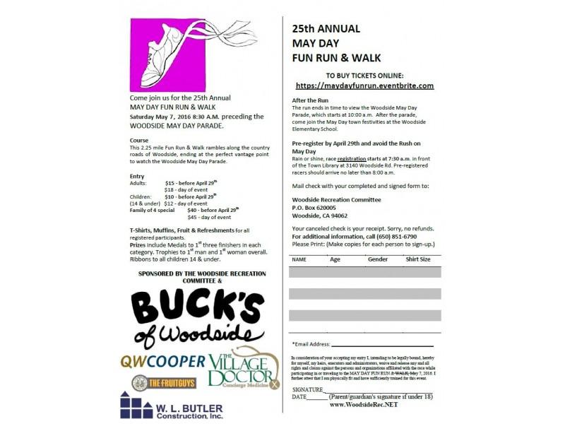 25th Annual May Day Fun Run & Walk Set for Woodside