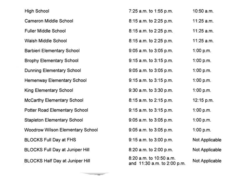 What Time Does School Start in Framingham  Framingham