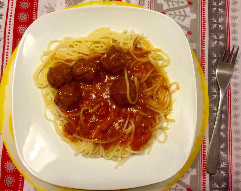Spaghetti result w/ meatballs