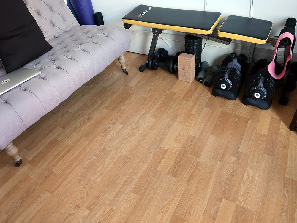 Our workout space - we just move as much of the furniture that is usually here out of the way