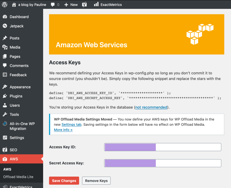 Amazon Web Services Plugin in WordPress