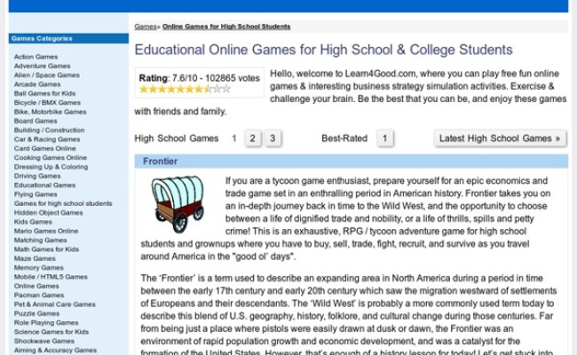 Games For High School Students Fun Educational Online Game