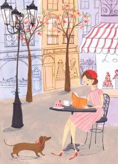 Illustrazione donna seduta che legge