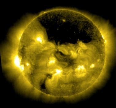 Giant coronal hole in the sun's atmosphere. Credit: NASA