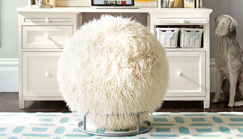 yoga ball office chair anti gravity kohls faux fur-covered exercise-ball desk is a real thing you can buy – philadelphia magazine
