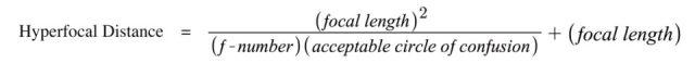 Hyperfocal Distance Formula