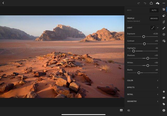 Lightroom CC on iPad Pro Image Editing