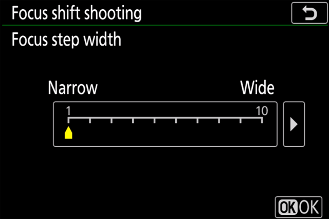Nikon Z7 Focus Shift Step Width