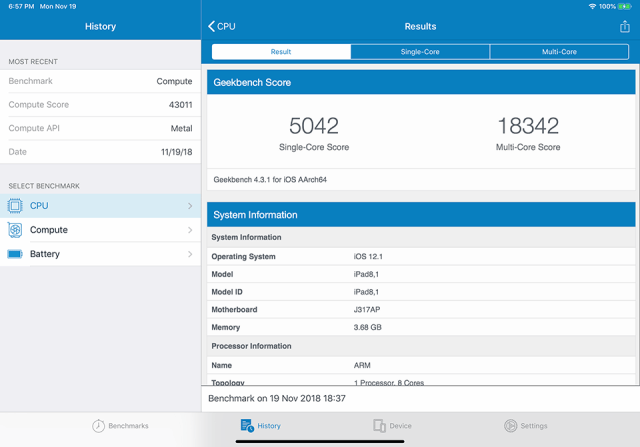 iPad Pro 2018 Geekbench 4 Score