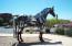 Matilda the horse, one of many metal sculptures thru-out town!