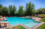 Sparkling pool with spa is perfect for respite from the heat