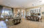 Dining/family room with built-in cabinetry