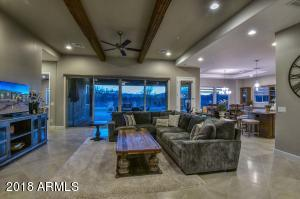 Wood Beams & 16 ft French Sliders w/ automatic roller shades