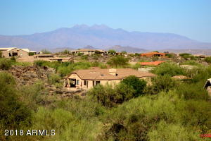 Panoramic view of surrounding homes and Four Peaks in the background.