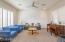 Living Room, with custom shiplap wall.