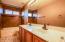 Upstairs bath with dual sinks, custom shower and rainfall shower head