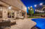 Large covered patio with dual ceiling fans and dimable lighting