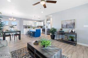 open view to dining & kitchen island