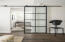The steel and glass barn door separated the office/den from the main living area.