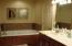 6 ft jetted tub, dual sink vanity