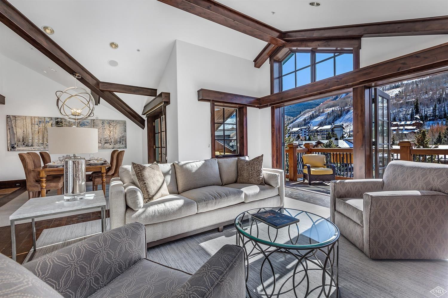 Luxury European elegant Penthouse with the best views in Vail Village! Listen to the sounds of Gore Creek from your deck, let the sun warm you while you take in the 180 degree mountain views, 4 Bedroom + Media Room, 2 decks, 2 Gas Fireplaces, Dual Master Marble Bath, Walk-in closets with extra storage, Direct Elevator access, Central Air, Crestron electronics, Heated floors, Parking/Storage, Security, Valet service,  Concierge attention, Infinity Pool, 2 Hot Tubs, bike and ski storage, use of the Sonnenalp Hotel Spa, Pool, Room service from the Sonnenalp restaurants,  Golf and Fitness club.   This Penthouse is the Diamond Jewel in the heart of Vail Village in an unrivaled location with views up and down Gore Creek.  Only 10 whole owners can enjoy the luxury and attention at One Willow Bridge Road.  Only one can call the largest penthouse jewel their home in Vail.