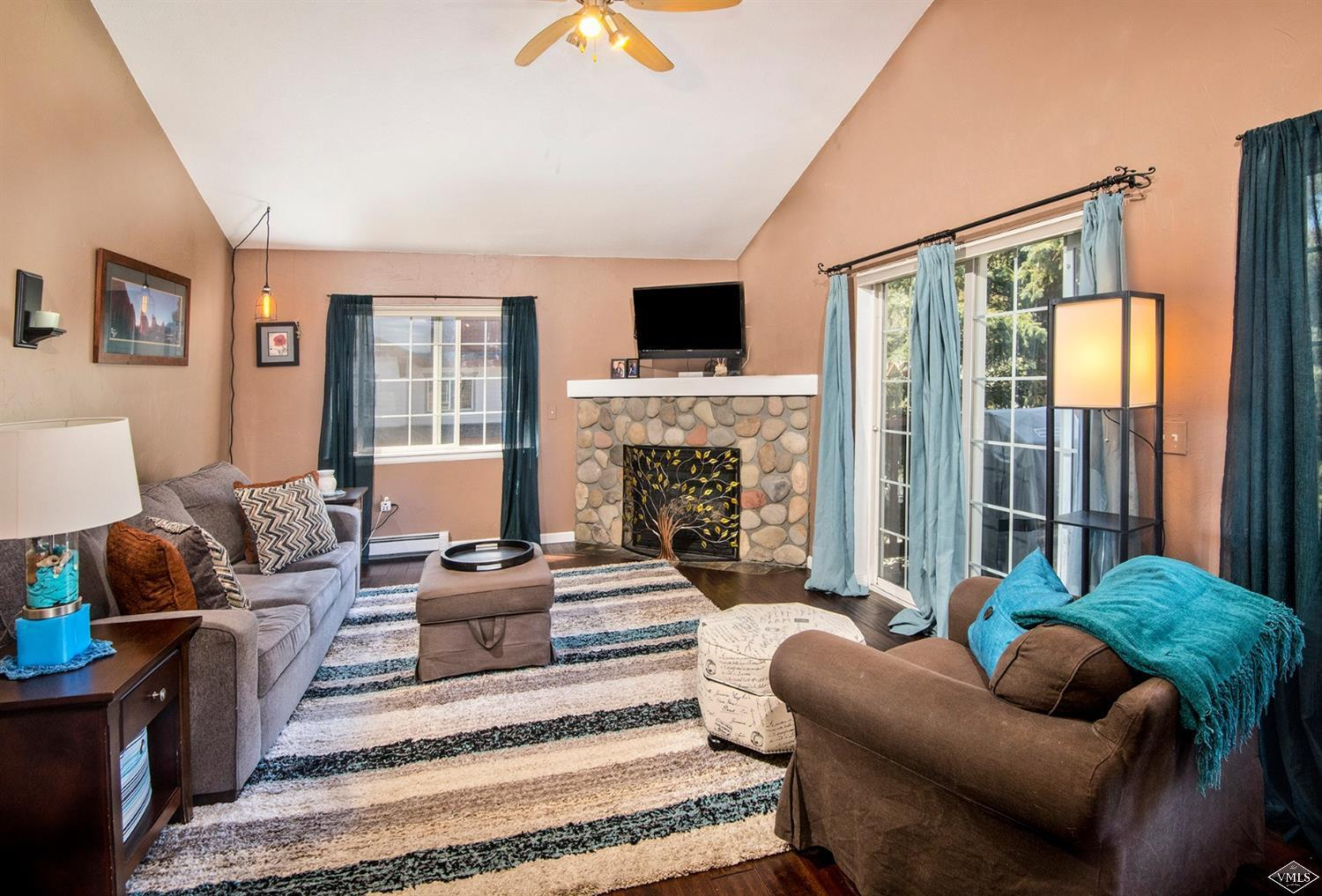 Great location near the pool, hot tub & playground; end garage attached to this well lit, top floor, 2 bedroom/2 bath residence. Live on one level, enjoy your patio while overlooking the kids & pets play below. Plan your day just steps away at the river with private fishing rights. HOA dues include water & heat. Close to Riverwalk - grocery, restaurants, shopping and movies!
