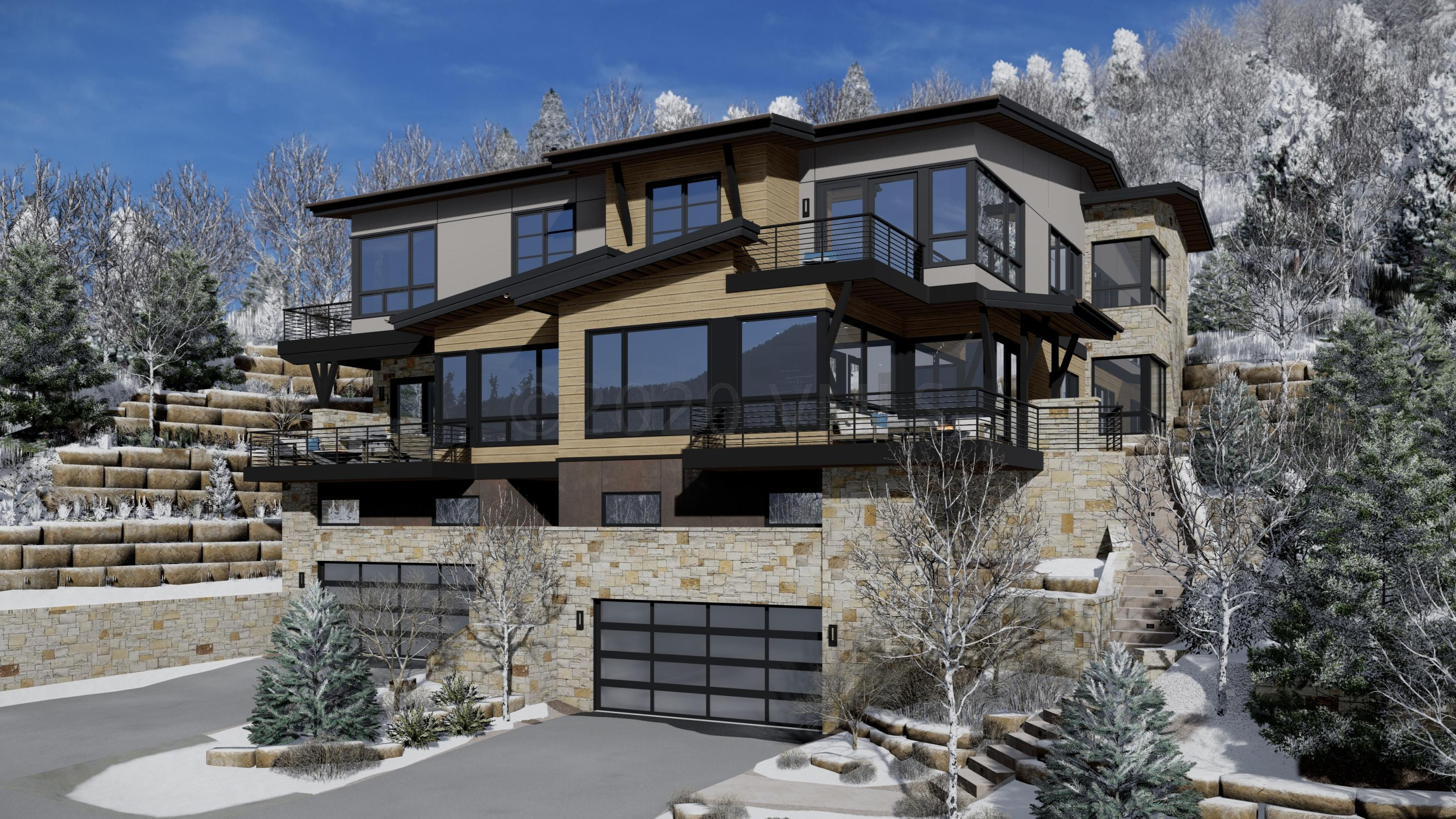 This new construction mountain modern residence designed by Scott Turnipseed encompasses 4 bedrooms and 5 bathrooms and was designed to celebrate the breathtaking views.  The clean contemporary look still feels warm and cozy with an easy breezy and slightly transitional interior finish.  The main level is an open concept with white oak floors with a warm finish, ultra white quartz countertops and imported Italian cabinets in larice grey mixed with a section of white cabinets for contrast.  The main living room all centers on the gorgeous fireplace that exemplifies sophisticated elegance.  This elevated residence has high end appliances including Subzero and Wolf, Brizo hardware and fixtures, Italian Barausse Feel Plus Doors in a Brina color with a trimless drywall return, designer lighting that is both great for gloomy days or sets just the right mood for evenings.  The wet bar is right where everyone can enjoy it between the kitchen, dining and main living room.   The two gorgeous master suites will make it a tough call for the homeowner to choose.  All bathrooms have European glass and curbless entry, Brizo fixtures, and unique materials from one another but all have that same consistent feel within the home.  Be reinvigorated by time well spent in these gorgeous suites after a great day in the Colorado Rockies. When looking for a reprieve from the action in the main great room, the family room located upstairs is perfectly placed for on top of the world views and lounging. There is plenty of room for gear in the mud room or three-car garage for a houseful of active people (two spaces in the garage are tandem). With limited inventory of new construction, we invite you to discover this mountain contemporary design masterpiece. Estimated completion March 2021. Visit mls-East.NewVailHomes.com for additional details.