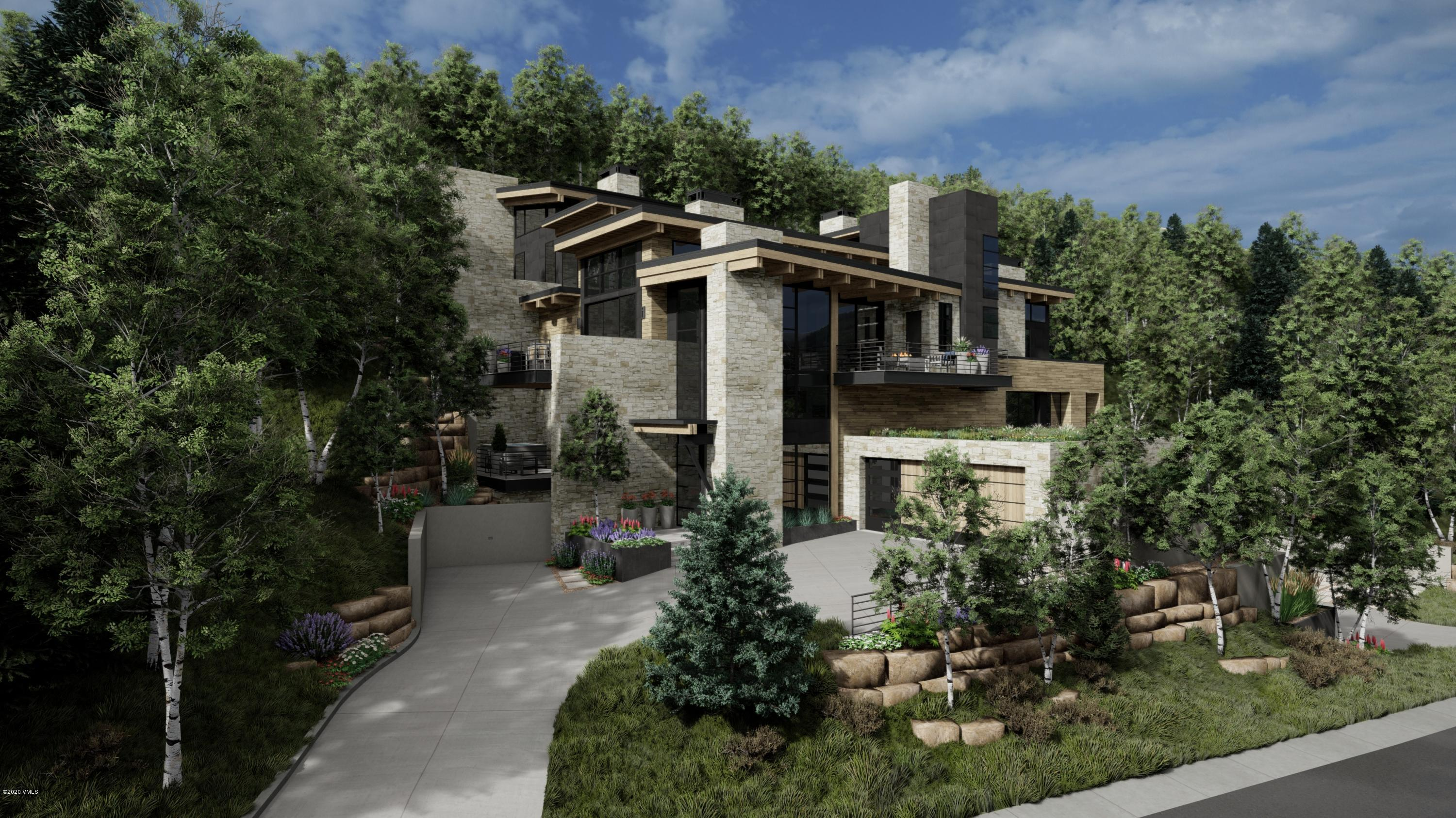 Rare opportunity to own a new construction, mountain contemporary home on the highly coveted Forest Road in Vail. Designed by Kyle Webb and built by Paragon Homes, Inc., this home offers unparalleled luxury, craftsmanship and sophistication. This modern mountain retreat features a warm aesthetic with elements of wood and stone used throughout and defined clean lines. Grand glass walls harness breathtaking views of the surrounding mountains, woodland and village of Lionshead. Located approximately 500 feet from the Born Free ski run, the location is prime especially for those that love tree skiing or for those who wish to briefly ski down to the Lionshead Gondola, about 600 feet away. Encompassing 4,454 square feet of living space, there are four bedrooms, five bathrooms and several outdoor patios.  With the driveway and all deck surfaces heated efficiently, all will enjoy the beauty of the outdoor dining area year-round. The refined kitchen with gorgeous Italian cabinetry and state of the art appliances open to the living and dining areas. With elevated views, sun-filled interiors, this open floorplan masterfully accommodates for entertaining and family fun. Offering four levels of luxurious living, every room is an experience in and of itself with excellent views and attention to detail. The master bedroom was designed to provide ultimate privacy while still encapsulating the beauty of the outdoor landscape with its own spacious patio and surrounding aspen trees. Enter the mudroom after a day of skiing Vail's world-famous powder or hiking in the White River National Forest. Outfitted with built-in ski racks, cabinets, boot dryers and shelving, you can easily organize gear and equipment for family & friends. Nestled in the mountainside, enjoy this new mountain-chic architecture that is luxurious, yet inviting for your family & guests to enjoy. Estimated completion January 2022.Please view mls-670.ForestRoadLuxury.com for complete details. Note, the taxes & exact acr