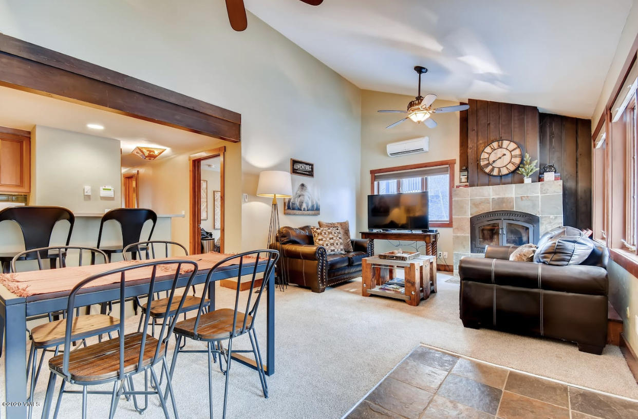 A spectacular top floor residence with views, vaulted ceiling and great deck space.  Enjoy a great floor plan with 4 spacious bedrooms and 4 bathrooms.  A short walk across Gore creek takes you to pet friendly Bighorn Park. Enjoy the on-site pool and hot tub and convenient access to Vail Village via the in-town bus.