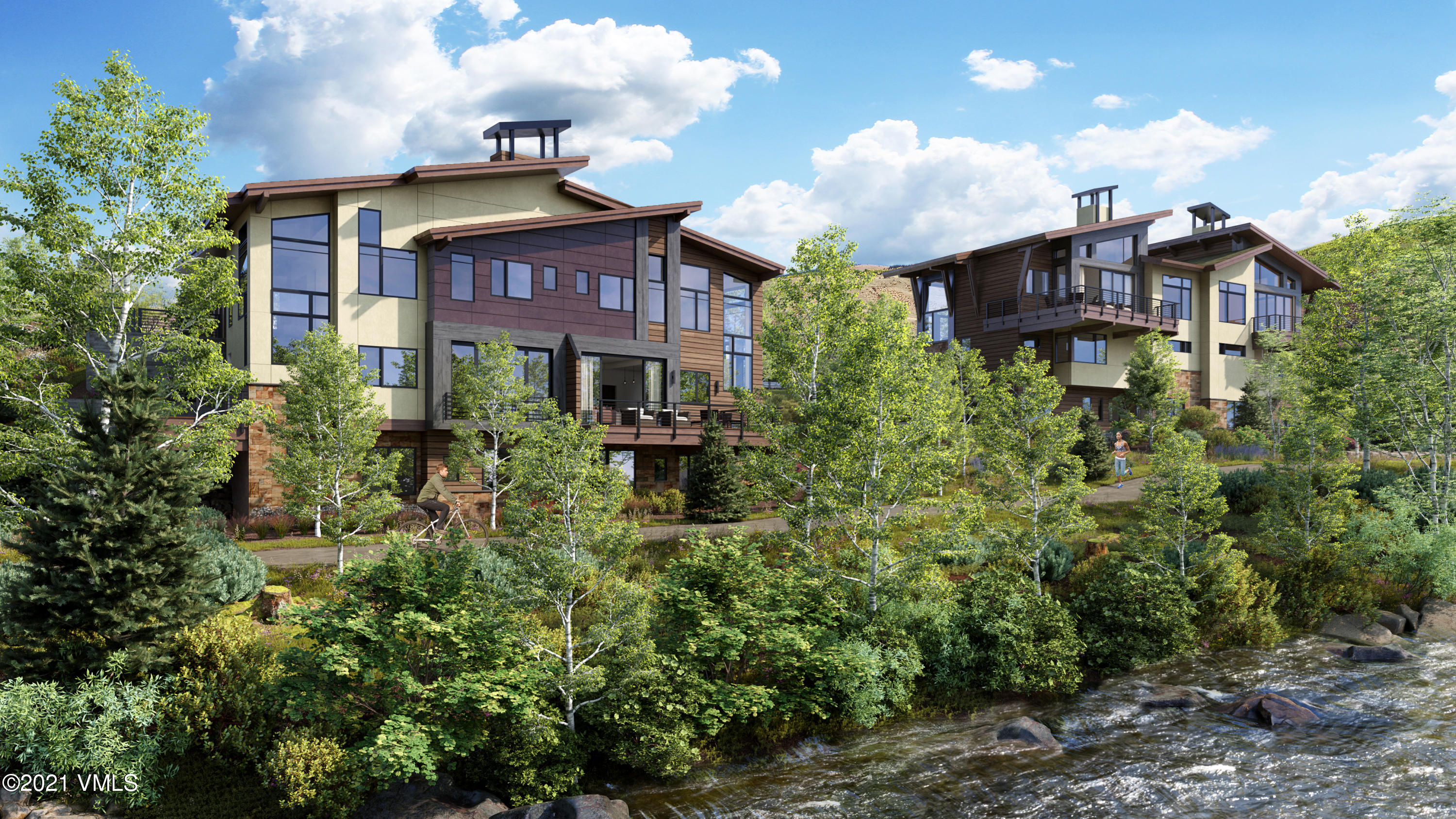 Luxurious 4-bedroom, 3-bathroom residences in an unparalleled location perched on the Eagle River in the brand-new Riverfront Village. Enjoy an ultimate indoor-to-outdoor experience in these very open-concept plans featuring 9-foot glass walls that fold onto an expansive decks, allowing for panoramic views down the River and up to mountain peaks. Designed for the future of luxury mountain living, the floor plans offer a second living room, optional office, solar panels, a cutting-edge air filtration system, along with lockable owner storage and a coveted 2-car garage. Enjoy dual perks of unbelievable access to world class amenities at the Westin while still being able to retreat to the privacy and seclusion of your own quiet enclave of only 4 residences. Interiors are sleek and sophisticated featuring oak slab cabinets, wide-plank hardwood floors, quartz countertops, Waterworks fixtures, Thermador appliances and natural textures and contrasts. Be one of only four lucky owners to own a masterpiece at the end of Riverfront Lane.