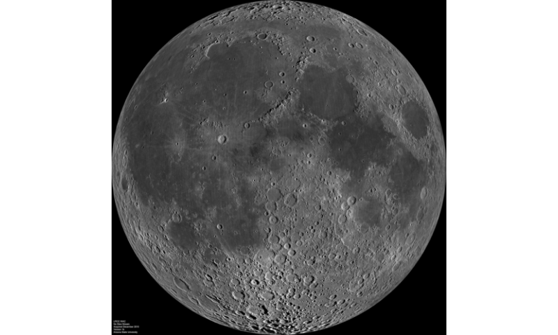 This is a composite image of the lunar nearside taken by the Lunar Reconnaissance Orbiter in June 2009, note the presence of dark areas of maria on this side of the moon. Credit: NASA   Read more at: http://phys.org/news/2016-01-european-space-boss-crazy-moon.html#jCp