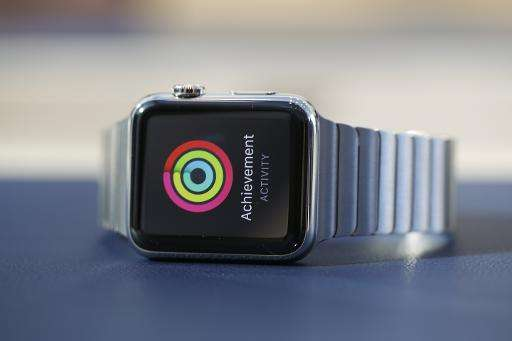 An Apple Watch with stainless steel link bracelet