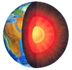 An artist's conception of Earth's inner and outer core.