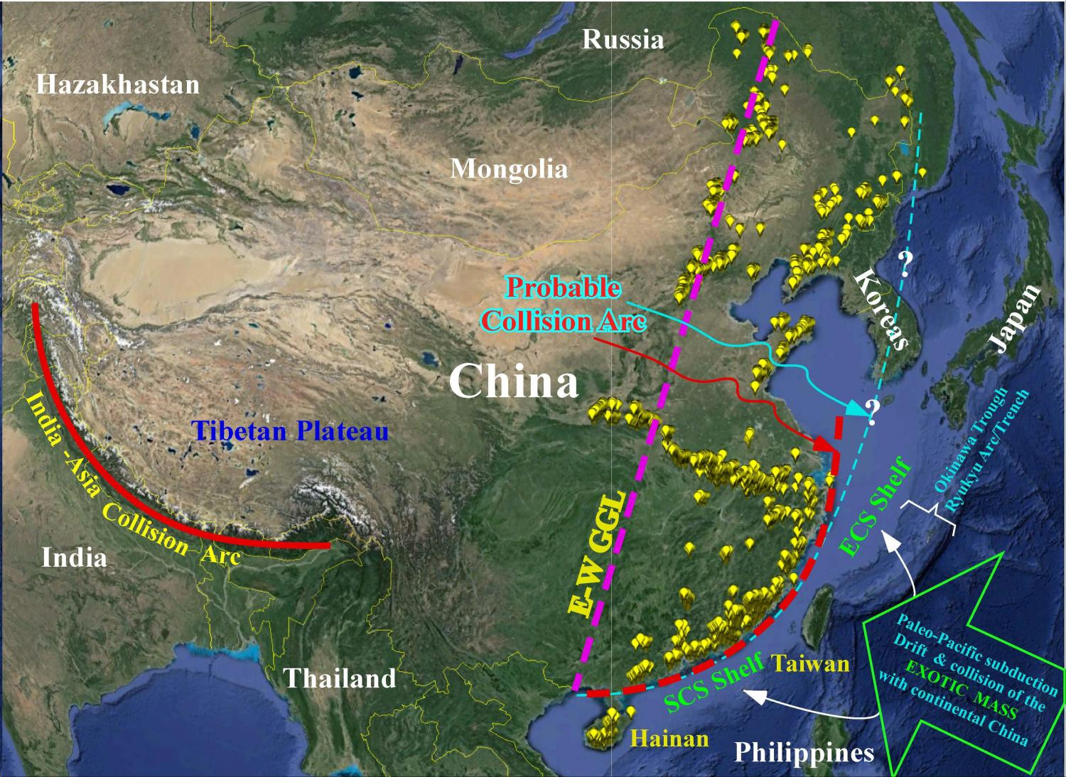 Chinese Continental Shelf Of Exotic Origin Collided With
