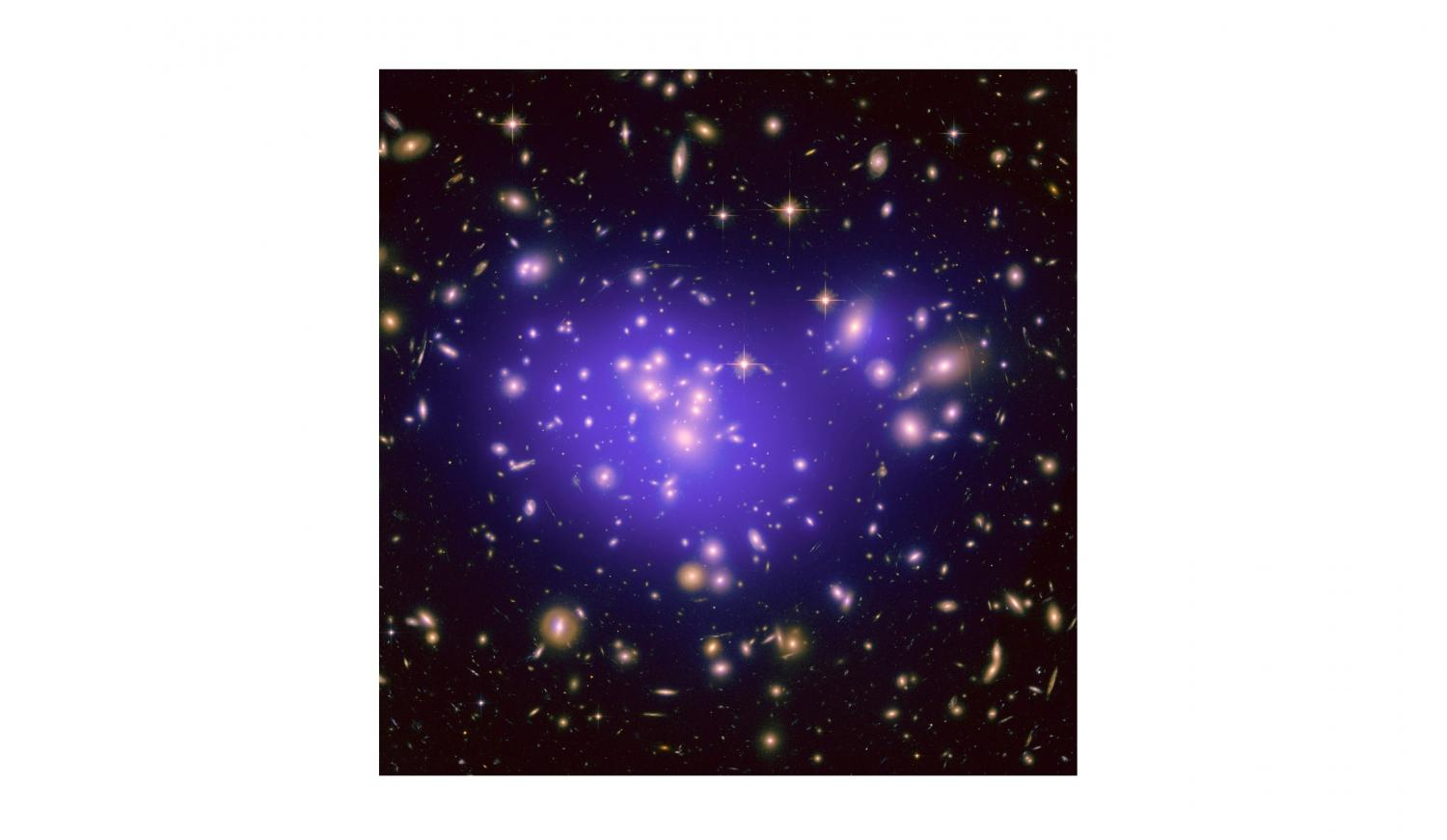 This image shows the galaxy cluster Abell 1689, with the mass distribution of the dark matter in the gravitational lens overlaid (in purple). The mass in this lens is made up partly of normal (baryonic) matter and partly of dark matter. Credit: NASA, ESA, E. Jullo (JPL/LAM), P. Natarajan (Yale) and J-P. Kneib (LAM). Read more at: http://phys.org/news/2016-11-dark-hidden-sector.html#jCp