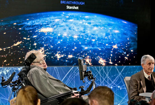 Cosmologist Stephen Hawking, left, joined by a group of of scientist including Princeton physicist Freeman Dyson, right, announce the new Breakthrough Initiative focusing on space exploration and the search for life in the universe, during a press conference, Tuesday, April 12, 2016, at One World Observatory in New York. The $100 million project is aimed at establishing the feasibility of sending a swarm of tiny spacecraft, each weighing far less than an ounce, to the Alpha Centauri star system. (AP Photo/Bebeto Matthews)  Read more at: http://phys.org/news/2016-04-stephen-hawking-life-tiny-spacecraft.html#jCp