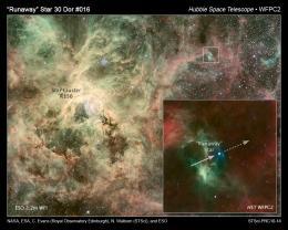 Hubble catches heavyweight runaway star speeding from 30 Doradus