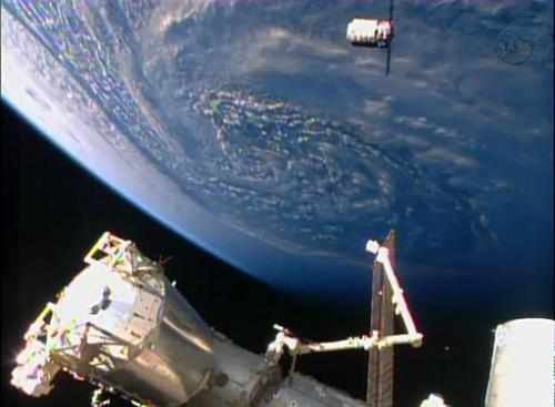 The Orbital Sciences Corporation's unmanned Cygnus cargo ship arrives at the International Space Station, on January 12, 2014