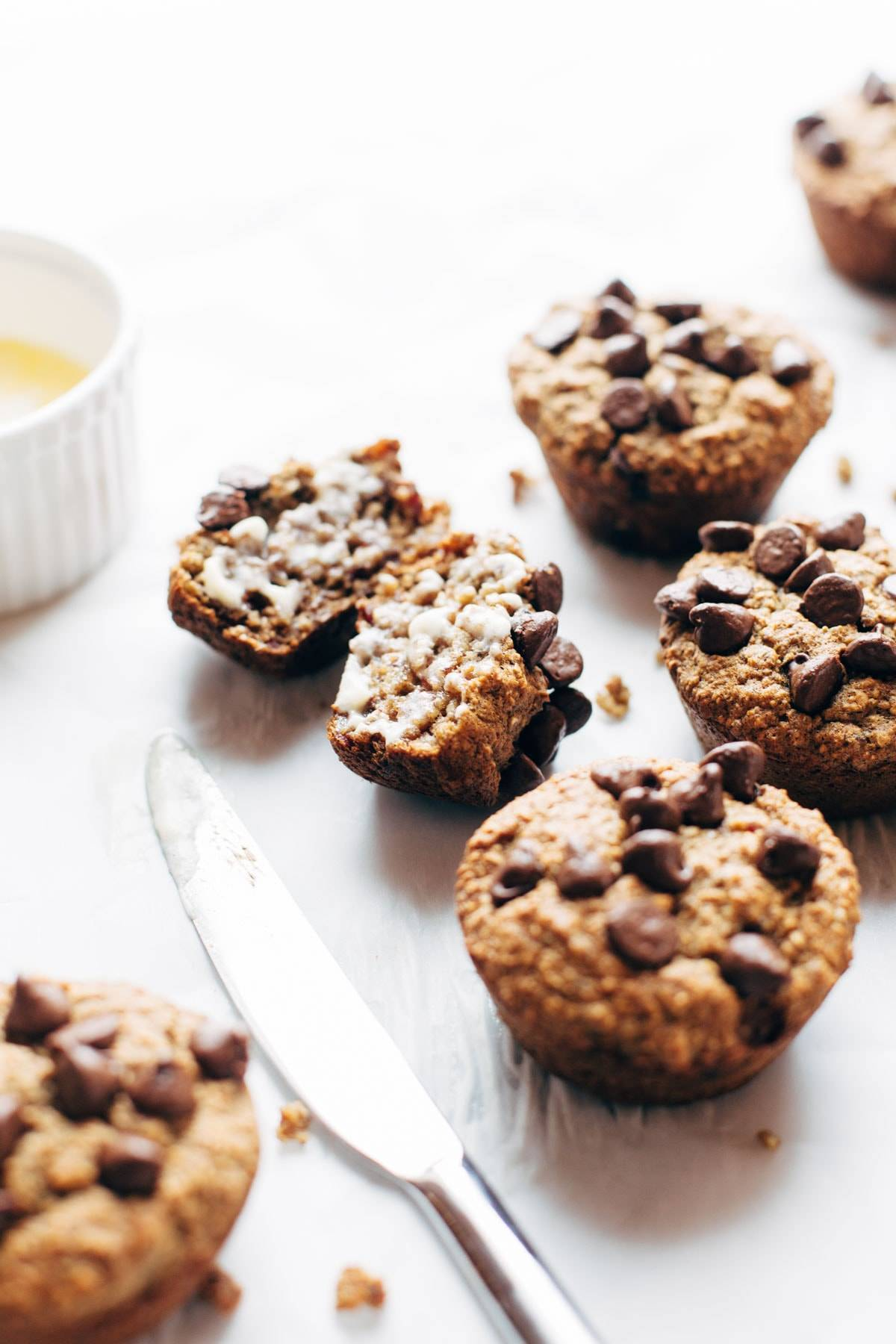 Banana Bread Muffins - made with just 5 wholesome ingredients! no refined sugar, naturally gluten free, and SO yummy! | pinchofyum.com
