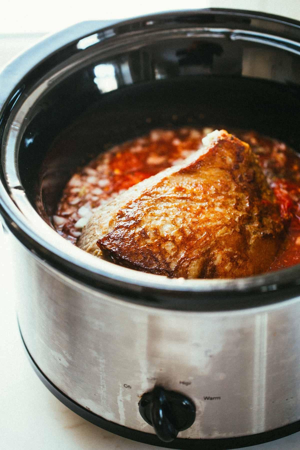 Crockpot Braised Beef Ragu With Polenta Recipe Pinch Of Yum